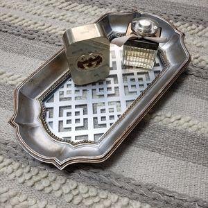 Silver Bathroom Vanity Tray